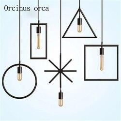Amerykański retro prosty spersonalizowany kreatywny specjalny w kształcie żelaza stolik restauracyjny stół żyrandol|Wiszące lampki|Lampy i oświetlenie -