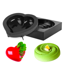 Black Silicone Cake Mold Heart and Round Shaped Nonstick Baking Mousse Dessert Pan Decoration Tools