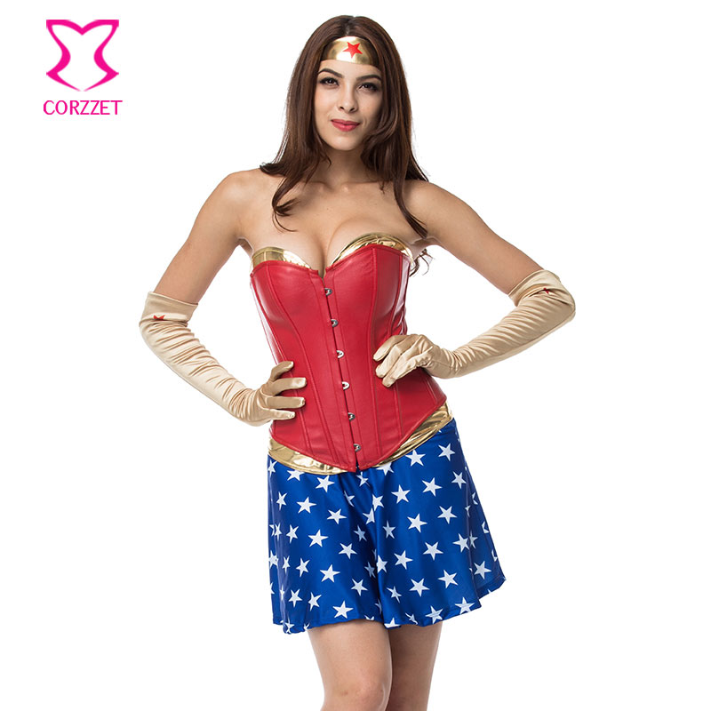 Burlesque Gold PVC and Red Leather Corset Wonder Woman Costume Cosplay Superhero <font><b>Halloween</b></font> <font><b>Sexy</b></font> Costumes For Women Adults image