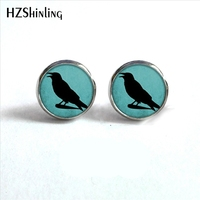 ED-0045 New Arrival Crow Earrings Steampunk Glass Dome Blackbird Raven Stud Hypoallergenic Earrings for Women HZ4