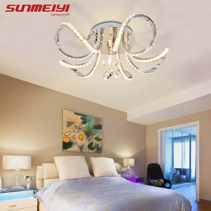 New Led Ceiling Lights Fixture Flowers Crystal Decor Plafonnier Led Living Room Bedroom Modern Home Lighting Luminaria Teto Lights & Lighting