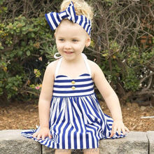 ins 2016 summer  girls blue stripe dresses dress 2-5 years kikikids vestidos infant baby girl clothes  nununuj bobo choses