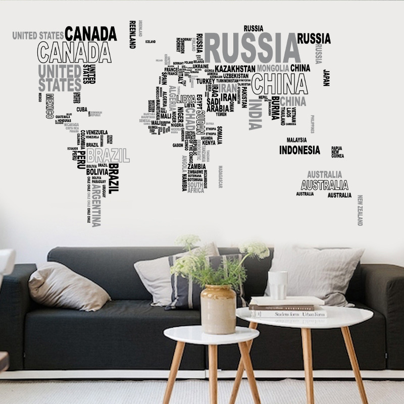 2pcslot creative home decor wall poster fresco english letter 2pcslot creative home decor wall poster fresco english letter world map shape water resistant wallpaper removable kohis sticker in wall stickers from home gumiabroncs Choice Image