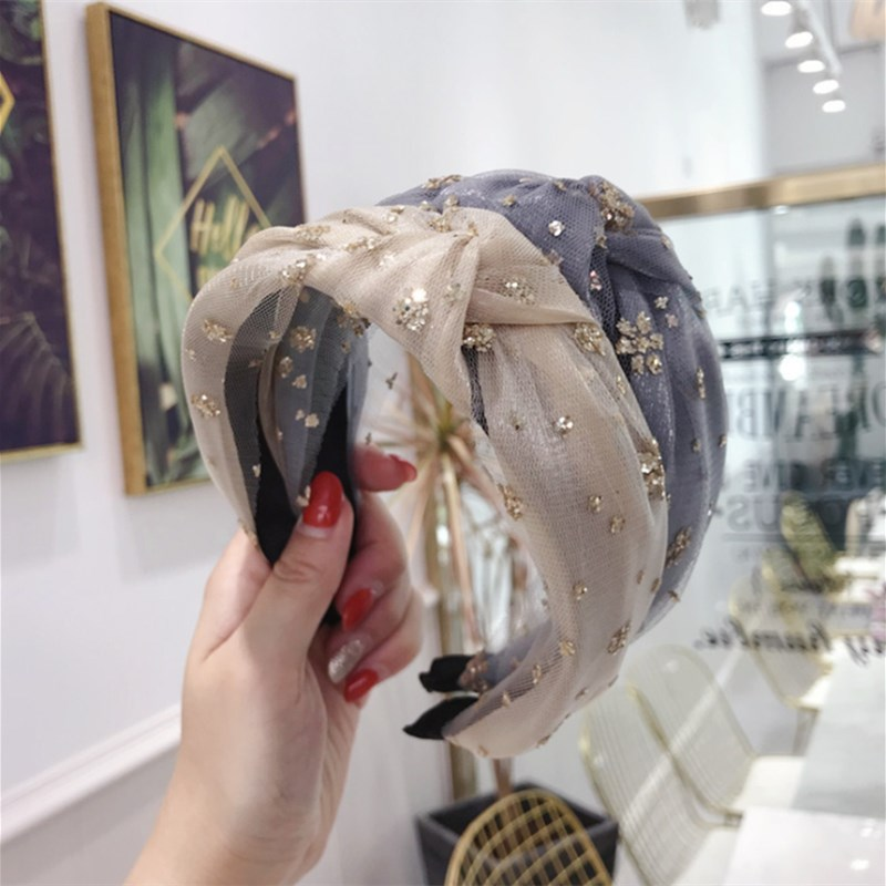 High-end Hair Accessories Women Bronzing Sequins Flower Mesh Yarn Knotted Wide-brimmed Hairband Headband Girl Hair Band Headwear
