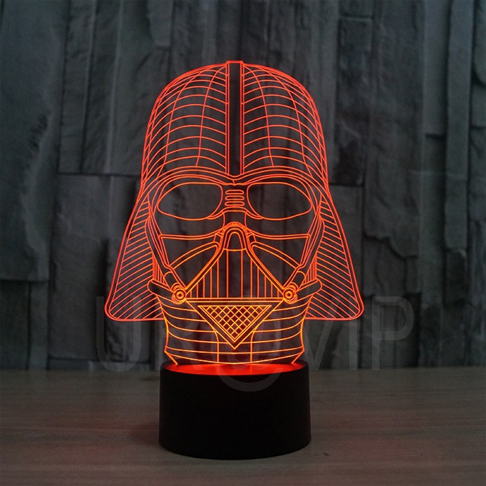 JC-2833  Amazing 3D Illusion led Table  Lamp Night Light with darth vader shape   (1)