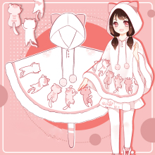 Outwear Cloak Pullover Hooded-Coat Japanese Girls Sweet Lolita White Winter Kawaii Cat-Print