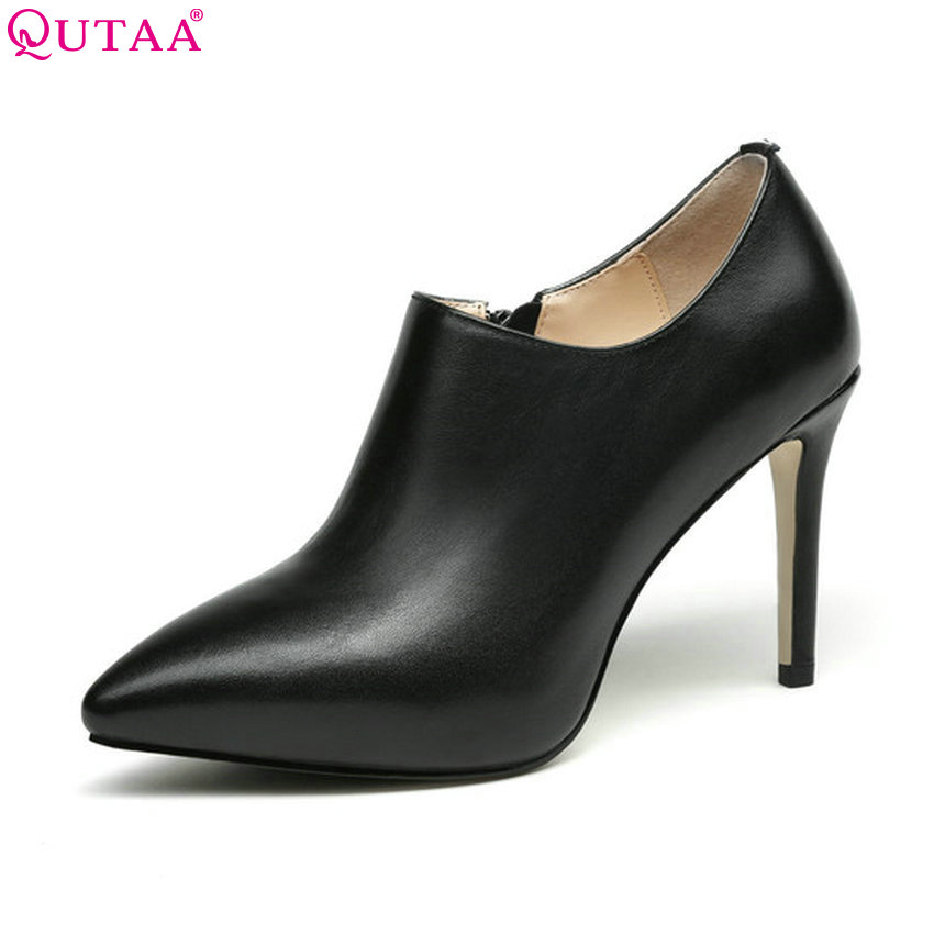QUTAA 2018 Women Pumps Genuine Leather +pu Platform Shoes Women Thin High Heel Pointed Toe Black Women Shoes Size 34-39 nayiduyun women genuine leather wedge high heel pumps platform creepers round toe slip on casual shoes boots wedge sneakers