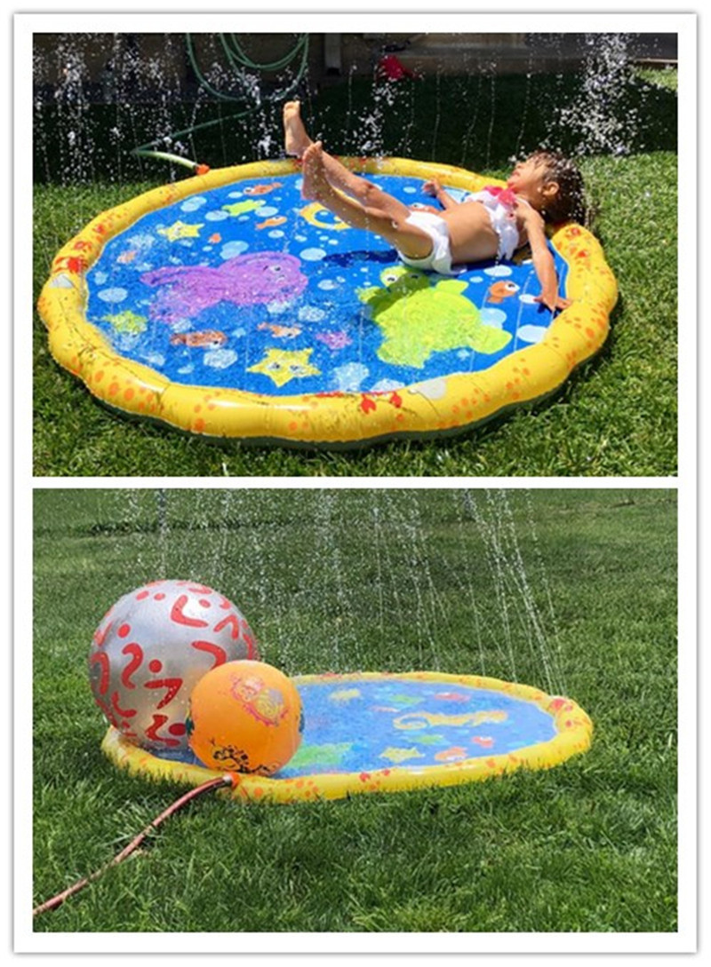 Inflatable Water Sprinkle & Splash Play Mat Summer Outdoor Swimming Beach Lawn Sprinkler Party Pad Water Toys For Kids Children
