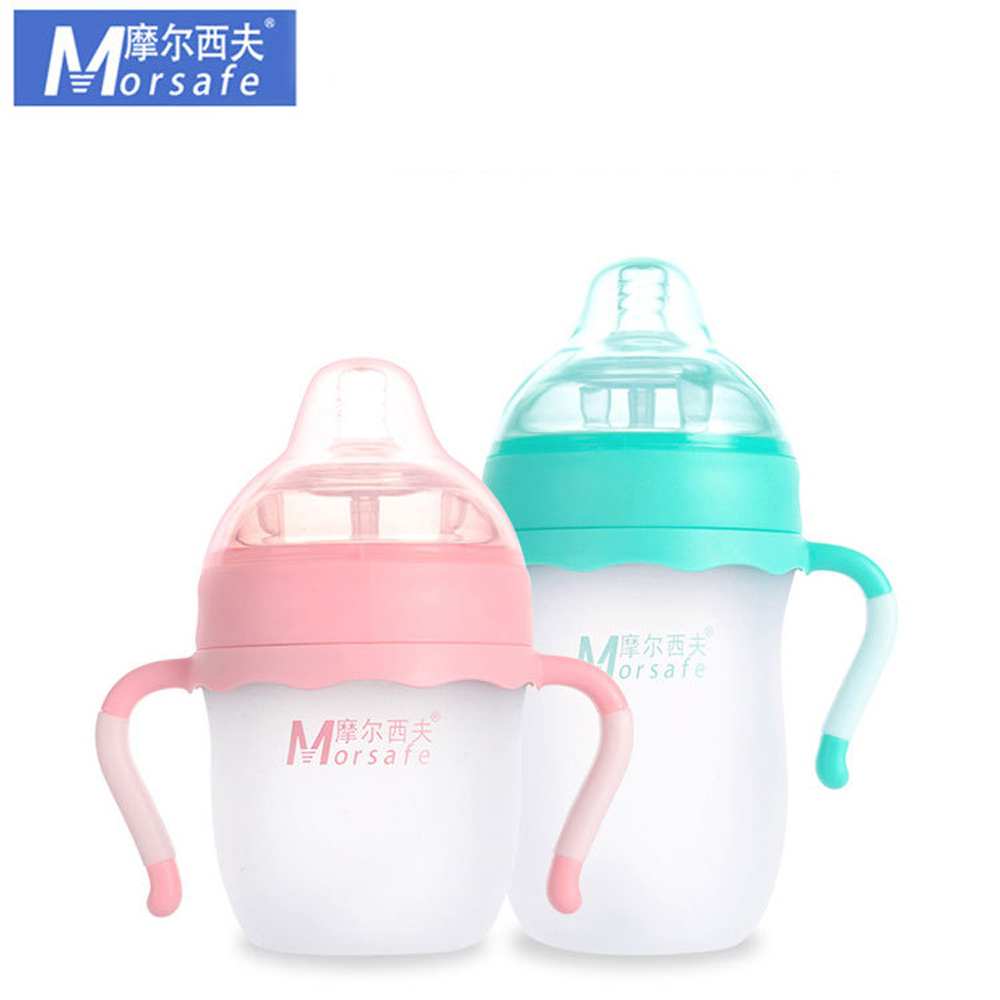 Morsafe 2 Colors Baby Silicone Bottle Green 250ml(8oz) Pink 150ml(5oz) Infant Newborn Baby Learn Milk Feeding Bottle With Handle цена 2017