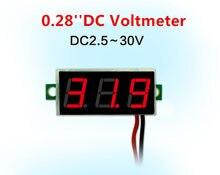 Mini módulo display digital led para motocicleta, painel medidor de voltagem, 0.28, vermelho, azul, Polegada, DC2.5V-30V