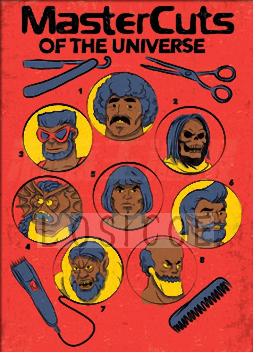 Ретро парикмахер татуировки рисунком плакат на крафт-бумаге парикмахерской Настенный декор ножницы для стрижки волос бритья волос настенные наклейки для салона 30X42 см