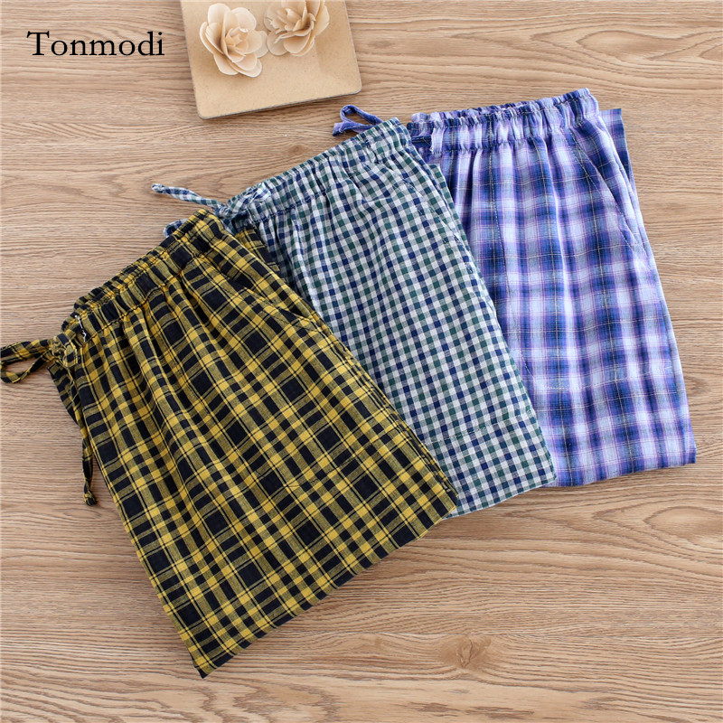 Men's sleep pants Cotton gauze trousers Plaid Loose