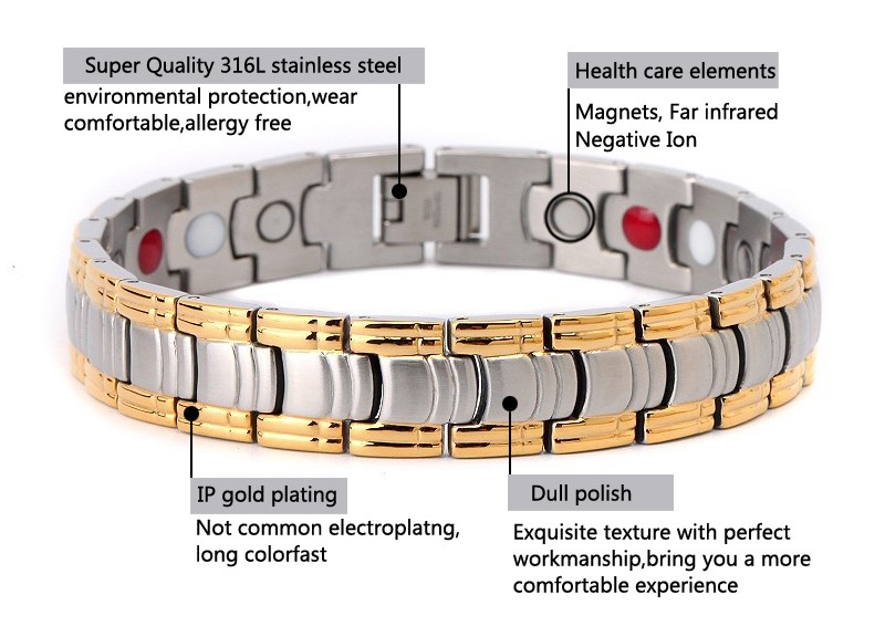 MoAndy Charm Bracelet Stainless Steel Unisex Adults Fashion Bracelet Energy Tank Chain Magnetic Health Chain White