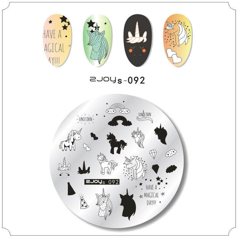 6cm*6cm nail stamping plates Animal cartoon unicorn nature pattern imager polish template halloween stamps art