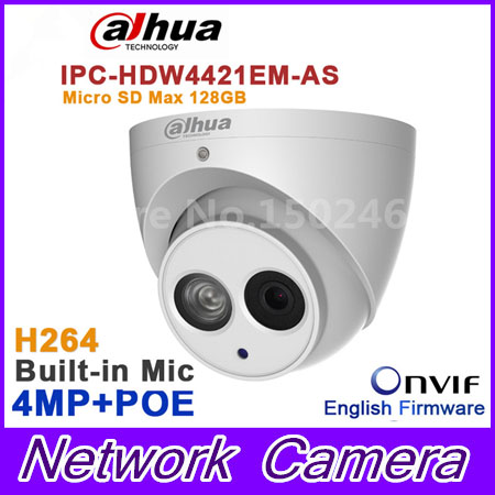 все цены на Original dahua 4MP IPC-HDW4421EM-AS HD WDR Network IR Dome Camera IPC-HDW4421EM-AS mic built in SD card solt DH-IPC-HDW4421EM онлайн
