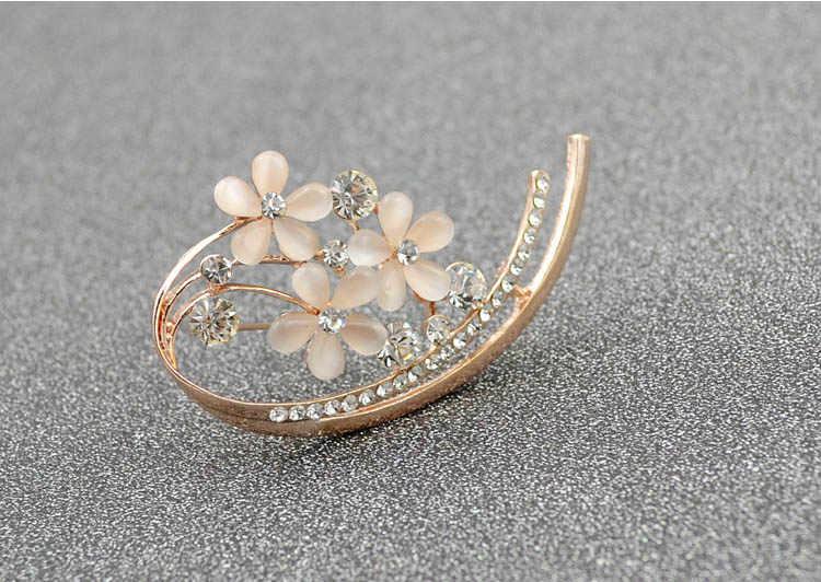 シンディxiang韓国スタイルオパール花のブローチラインストーンセットエレガントなブローチピン夏ドレスアクセサリー良いギフト