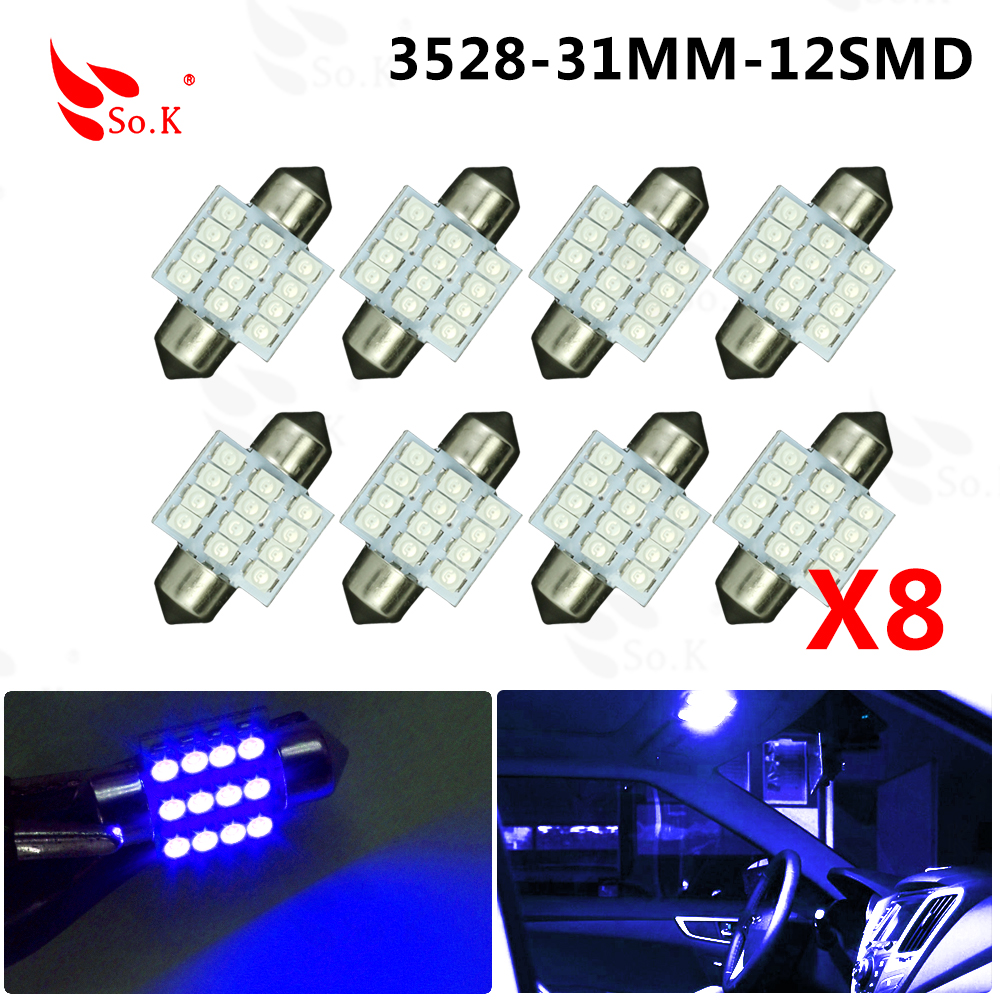 10 x High Quality Brand New Blue 31mm 12SMD 3528 Dome Festoon LED bulb DC 12V