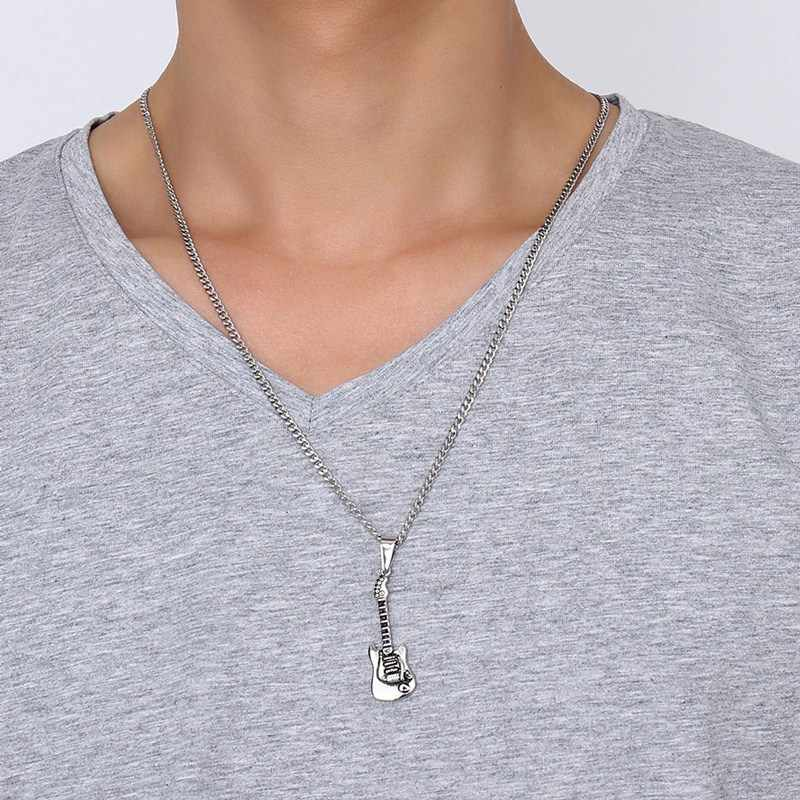 Мужское ожерелье металлическая акустическая электрогитара из нержавеющей стали кулон ожерелье Рок-ролл хип-хоп стиль ювелирные изделия