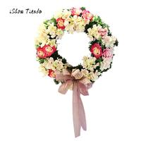Europe Style 1 Pcs Handmade Christmas Wreath Simulation Flower Wreath Door Wall Bowknot Ornament Garland Decoration