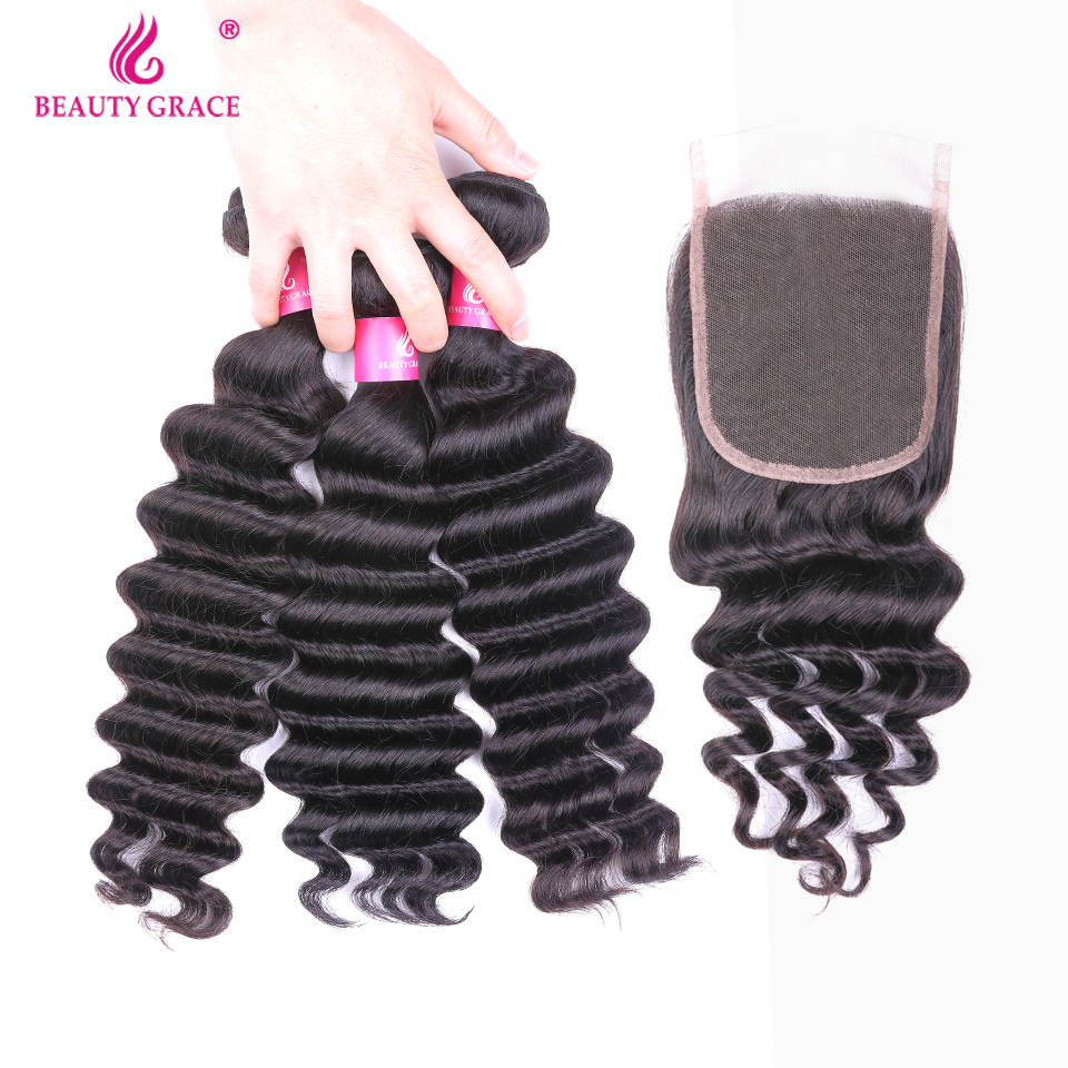 Beauty Grace Hair Loose Deep Wave Bundles With Closure Non Remy 100 Human Hair Extension Malaysian