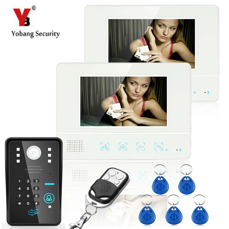 YobangSecurity 7Inch Lcd RFID Password Video Door Phone Intercom System Wth IR Camera 1000 TV Line Remote Access Control System jeruan home 7 video door phone intercom system kit rfid waterproof touch key password keypad camera remote control in stock