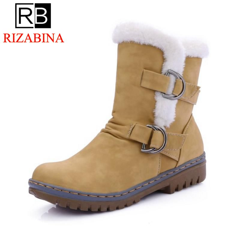 RizaBina Women Round Toe Ankle Boots Woman Warm Fur Winter Snow Boots New Fashion Buckle Style Footwear Low Heel Shoes Size34-43 serene handmade winter warm socks boots fashion british style leather retro tooling ankle men shoes size38 44 snow male footwear