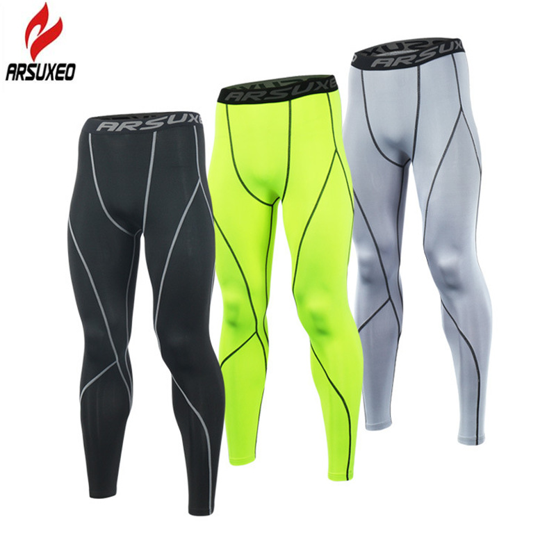 ARSUXEO 2018 Running Tights Men Compression Pants Tights Workout Leggings Running Sports Skinny Gym Male Trousers Fitness Pants