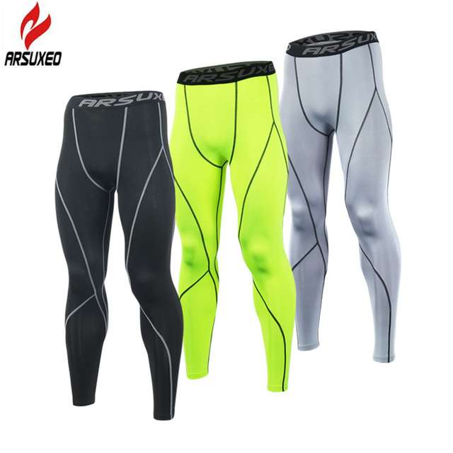 ARSUXEO 2018 Execução Collants Homens Calças De Compressão Calças Justas  Leggings Treino Correndo Sports Skinny Calças 284c0e621e2b2