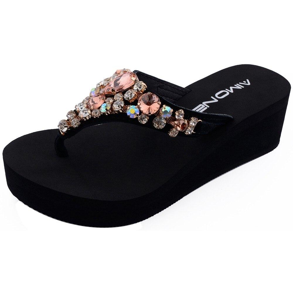 AIMONE Women Flip Flops Women Aurelie Red Rhinestone Sandals Beach Slippers  Shoes Summer Sandals Flip Flops 5556dc587cec