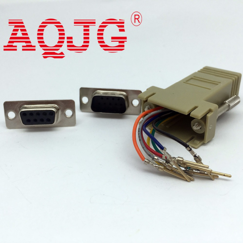 100pcs DB9 9-Pin Serial RS232 Male to RJ45 8C Male/ Female Modular Adapter M-F AQJG db9 male female adapter signals terminal module rs232 serial to terminal db9 connector
