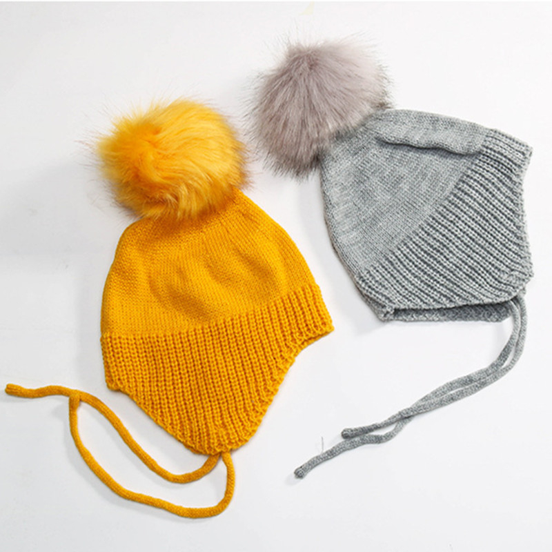 2017 Baby Autumn Winter Fashion Hat Knit Cotton Warm Caps Kids Beanie Children Big Ball Hooded Hat Pure Color Boy Girl Cute Hats super cute big five star cotton beanie hats skull cap for 1 4 years toddler infant baby winter children caps warm hat