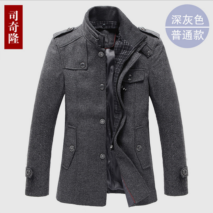 Hot ! mens grey pea coat winter clothing brand wool trench