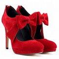 11 cm Thin Heel Ankel Big Bowtie Party Ball Wedding Women's Pumps Back zip Platform Flock Shoes EUR 35-42