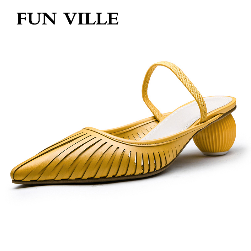FUN VILLE New Fashion Summer shoes Women Slippers Med Heels Shoes Sweet Sexy ladies shoes Female