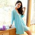2016 новый вырезом V-образным вырезом ремень ночную рубашку женщин летом тонкий срез модальный сексуальные пижамы из двух частей халат B1165