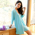2016 new Low-cut V -neck strap nightgown female summer thin section modal sexy sleepwear two-pieces Robe  B1165