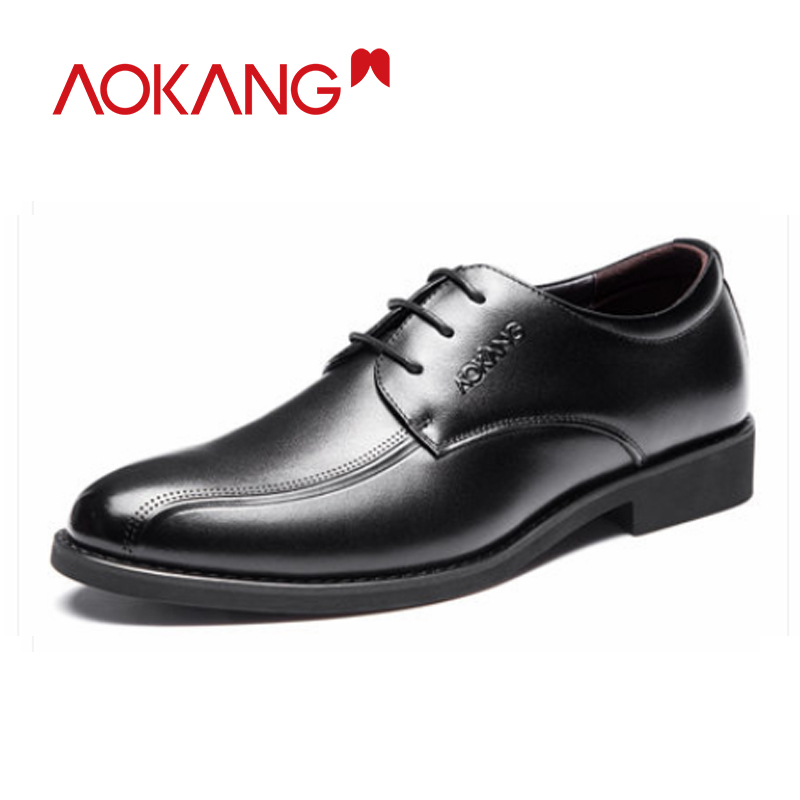 Aokang Men Dress Shoes Genuine Leather Derby Shoes Men Comfortable Breathable Big Size High Quality Formal