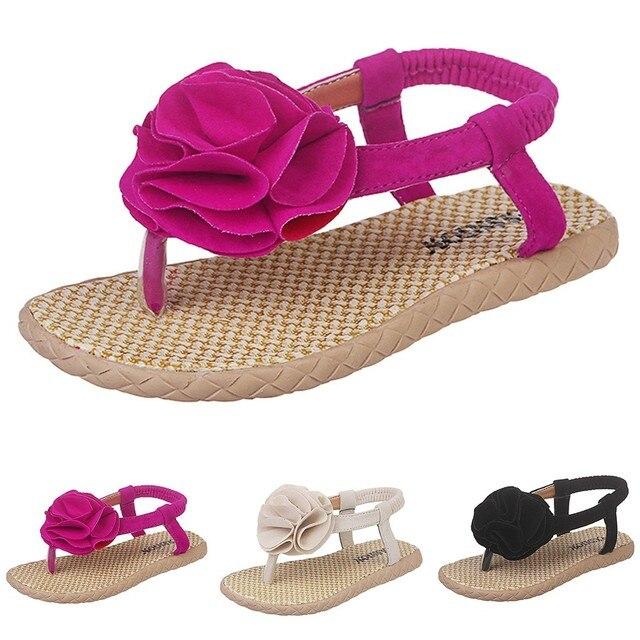 MUQGEW Summer Infant Kids Baby Girls Sandals Flower Elastic band Beach Shoes Flat Heels Casual Sandals girls sandals in kids