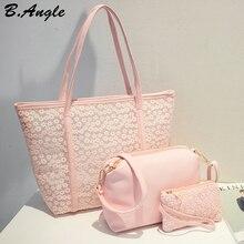 De alta calidad de flores de encaje de las mujeres bolsa de playa bolsa de bolsos de las mujeres famosas marcas de bolsos de cuero bolso de mano 3 bolsas 1 Unidades