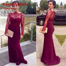 Custom made Form Lace Mermaid Simple Long Sleeve Party Gowns Chiffon Long Women Evening Dresses 2017 robe longue femme soiree