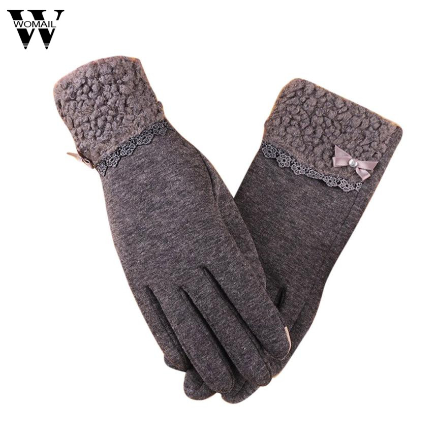 Fashion Bow Lace Full Finger Gloves Women Ladies Use Device While Keeping Hands Faux Fur Winter Glove