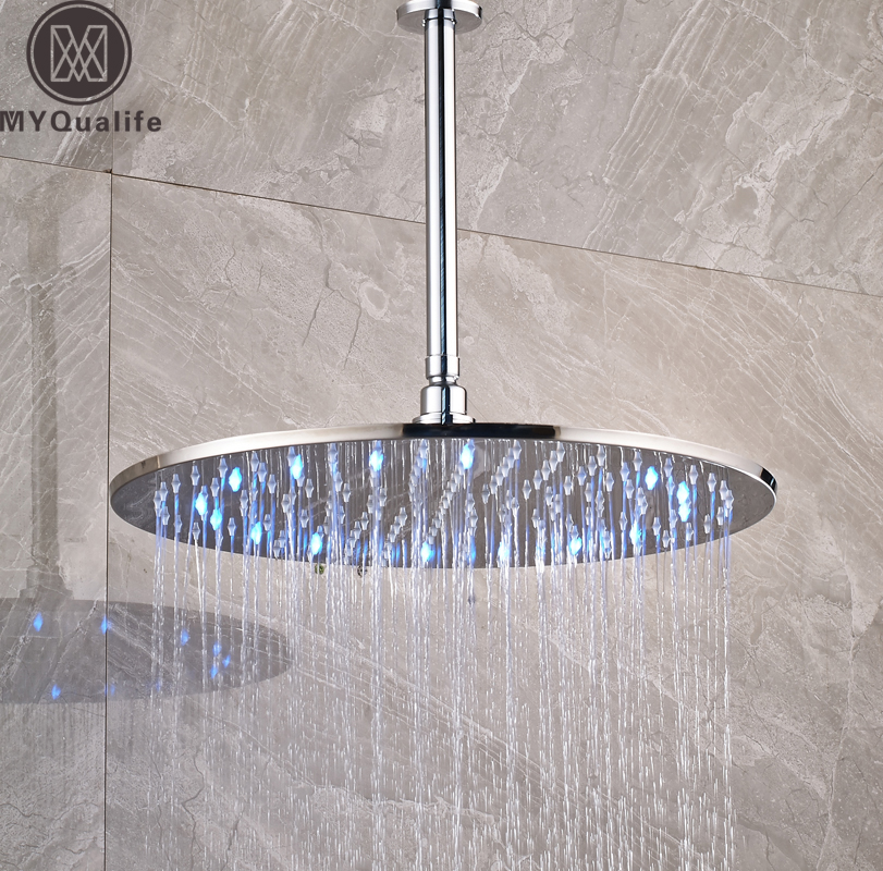 Luxury LED Colog Changing 16 inch Big Rain shower head Ceiling Mounted Brass Shower Arm 40cm Round Showerhead luxury led color changing golden brass rain round shower head wall mounted over head sprayer