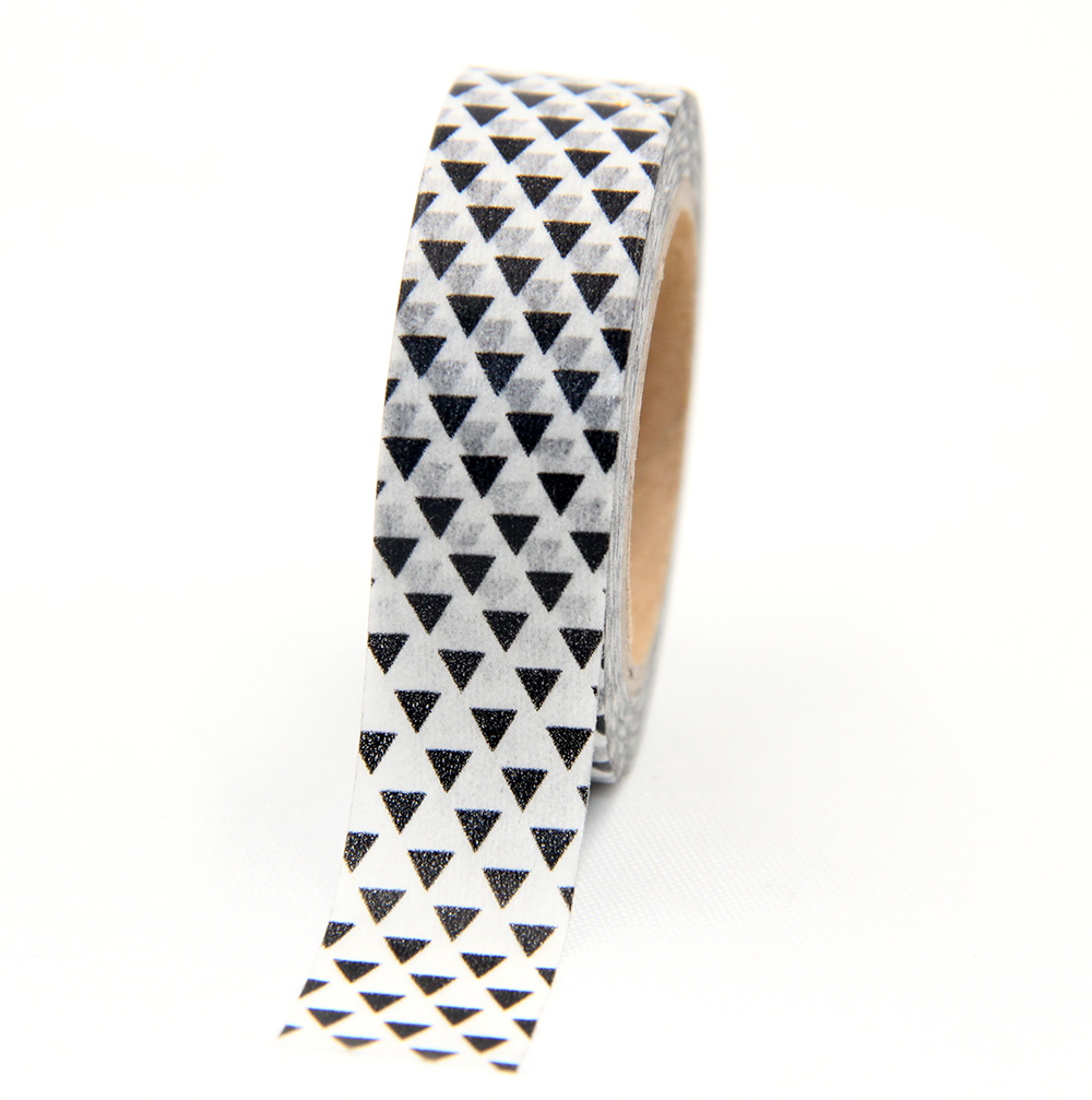 New Black And White Triangle Shape Washi Tape 15MM*10M Kawaii Decorativa For Gift Packing