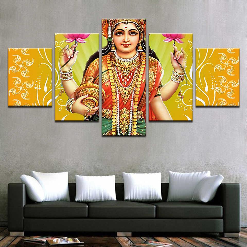 5 piezas India diosa de la riqueza Lakshmi lienzo pintura HD impreso imágenes modulares sala de estar decoración del hogar pared arte cartel