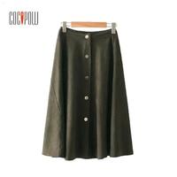 ZA Women Elegant Buttons Suede Mid Calf Skirts Chic Faldas Mujer Pleated Retro Autumn Casual Vintage Preppy Midi Skirt S2341