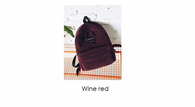 2016 New Women Backpack Preppy Style Suede Backpacks Teenage Girls School Bags Vintage Rivet Travel Backpack Burgundy Gray Black (3)