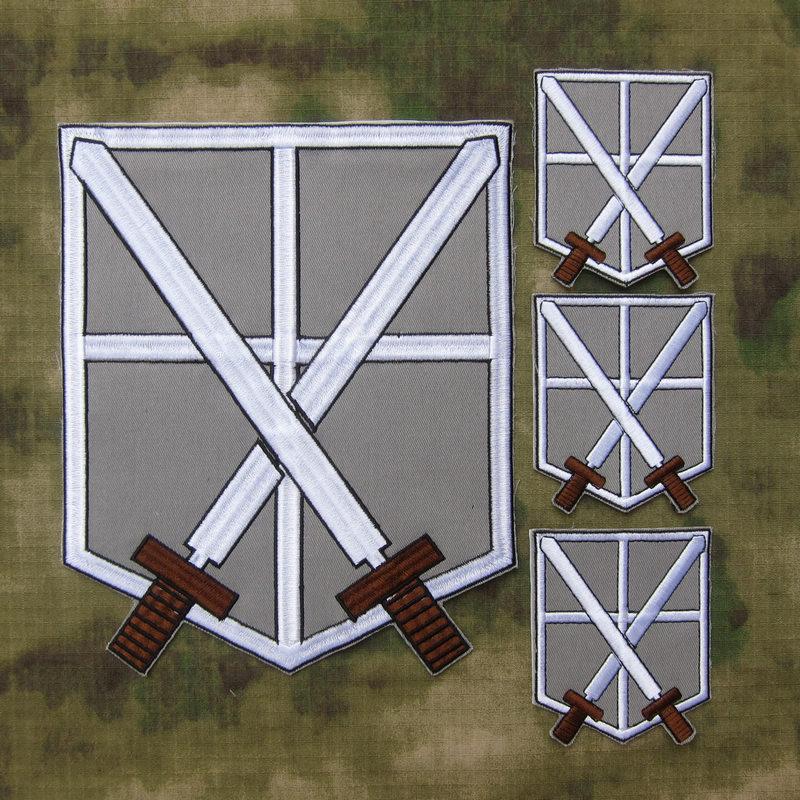 Fond gris noir design attaque sur Titan Corps d'entraînement grand dos du Corps broderie patch costume grand