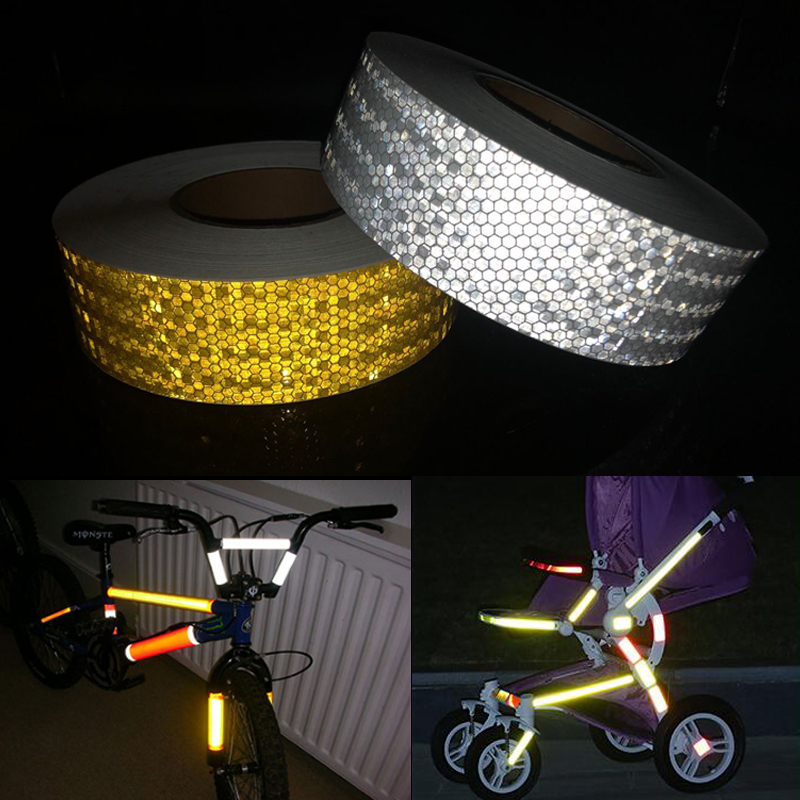 Купить с кэшбэком 50mmx5m Reflective Material Tape Sticker Automobile Motorcycles Safety Warning Tape Reflective Film Car Stickers