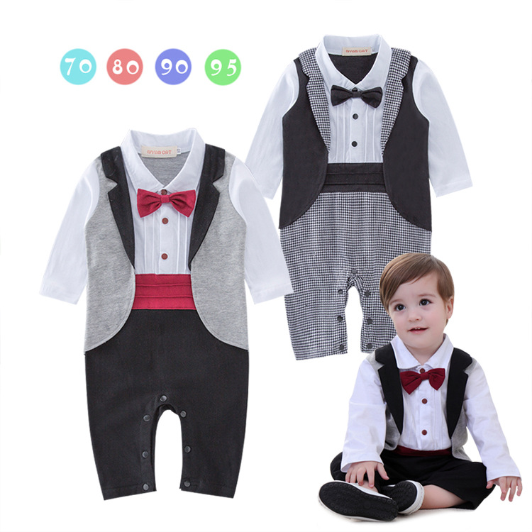 Baby Boy Wedding Christening Tuxedo Suits Dressy Party Romper Outfit Clothes