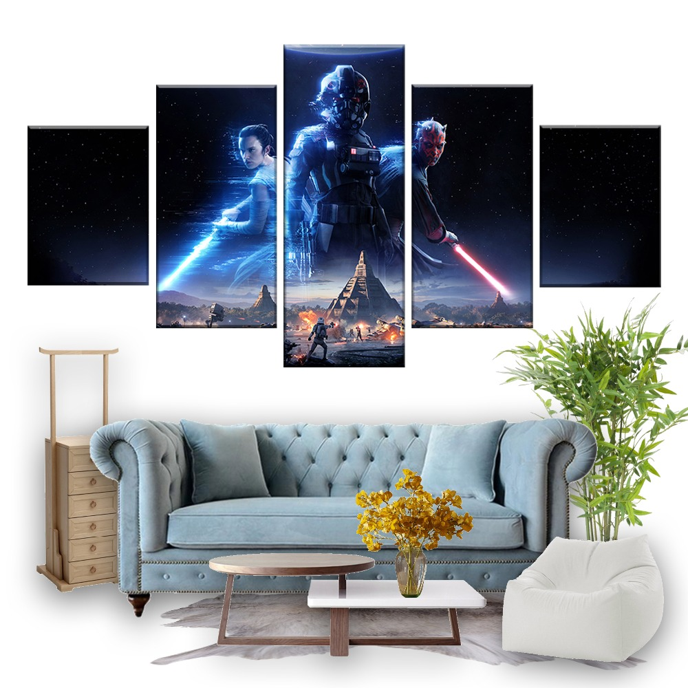 5 Piece Games Art Print Star Wars Battlefront 2 Poster HD Wall Pictures Canvas Art Paintings for Home Decor Wall Art image